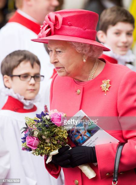 Queen Elizabeth II attends the Commonwealth Observance At Westminster Abbey on March 10 2014 in London England