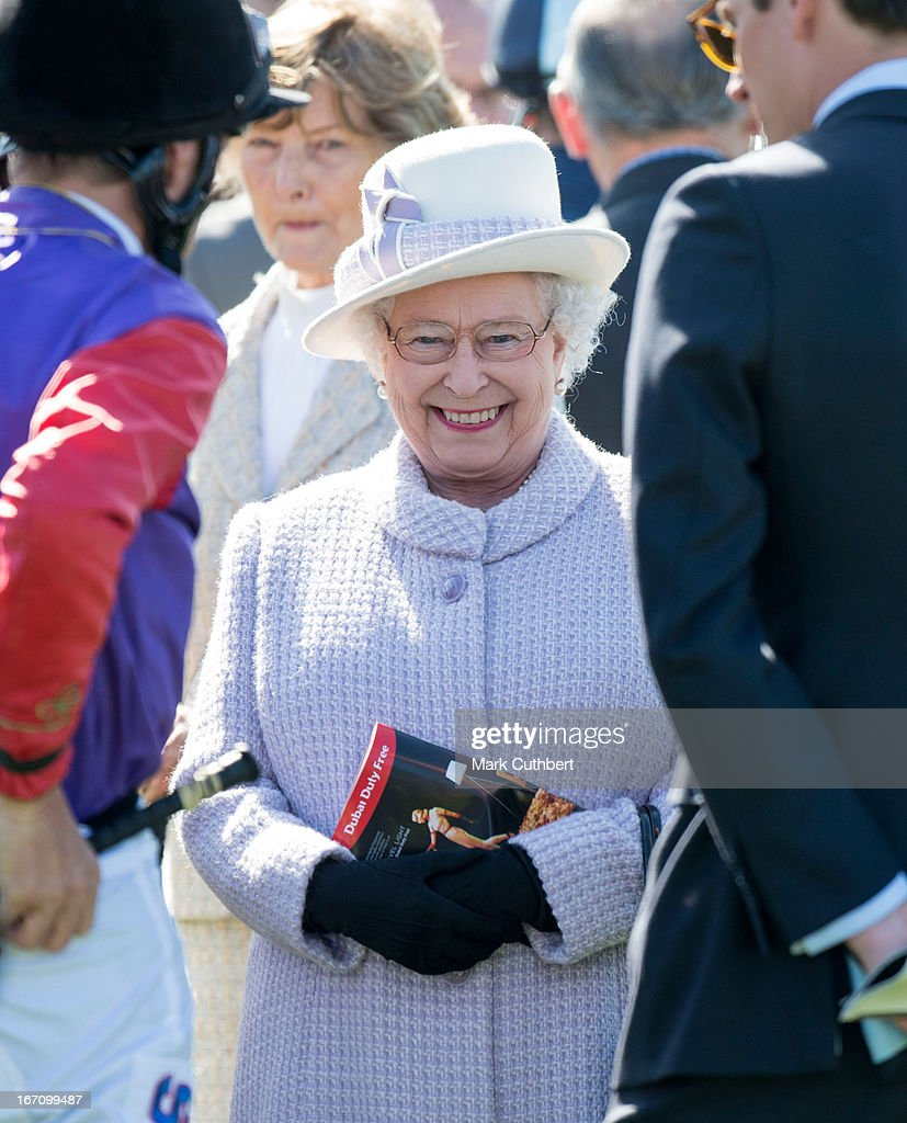 Queen <a gi-track='captionPersonalityLinkClicked' href=/galleries/search?phrase=Elizabeth+II&family=editorial&specificpeople=67226 ng-click='$event.stopPropagation()'>Elizabeth II</a> attends The Dubai Duty Free New to Racing Day at Newbury Racecourse on April 20, 2013 in Newbury, England.