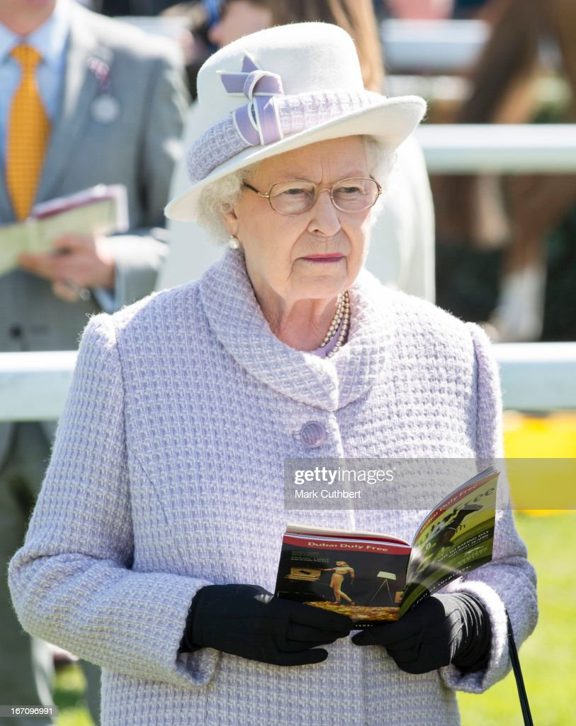 Queen Elizabeth II attends The Dubai Duty Free New to Racing Day where she watched her horse 'Border Legend' in Race 3 'The Berry Bros & Rudd Magnum Spring Cup', riden by Hayley Turner at Newbury Racecourse on April 20, 2013 in Newbury, England.