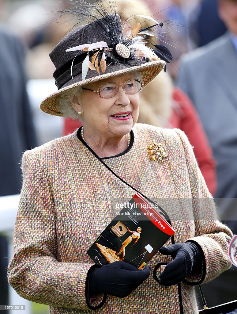 Queen Elizabeth II attends the Dubai Duty Free Raceday at Newbury Racecourse on April 19, 2013 in Newbury, England.