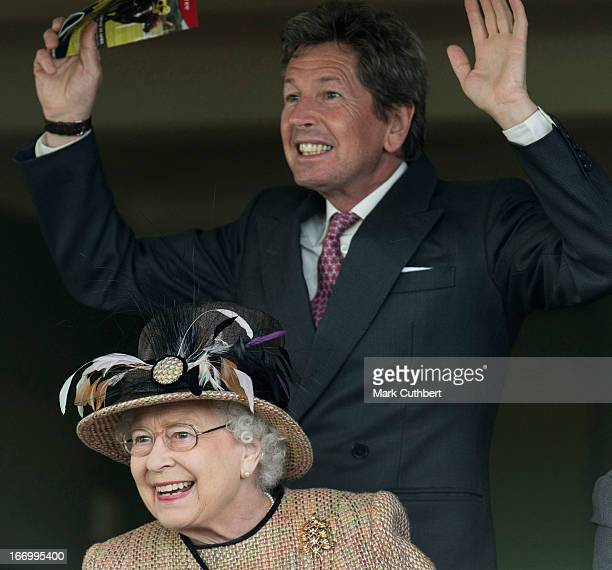 Queen Elizabeth II attends The Dubai Duty Free Raceday where she watched her horse 'Sign Manual' win Race 5 'The Dreweatts Handicap Stakes' riden by...