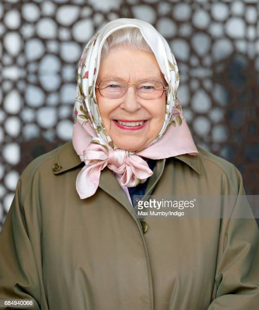 Queen Elizabeth II attends the Endurance event on day 3 of the Royal Windsor Horse Show in Windsor Great Park on May 12 2017 in Windsor England
