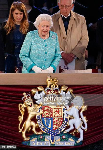 Queen Elizabeth II attends the final night of The Queen's 90th Birthday Celebrations being held at the Royal Windsor Horse Show in Home Park on May...