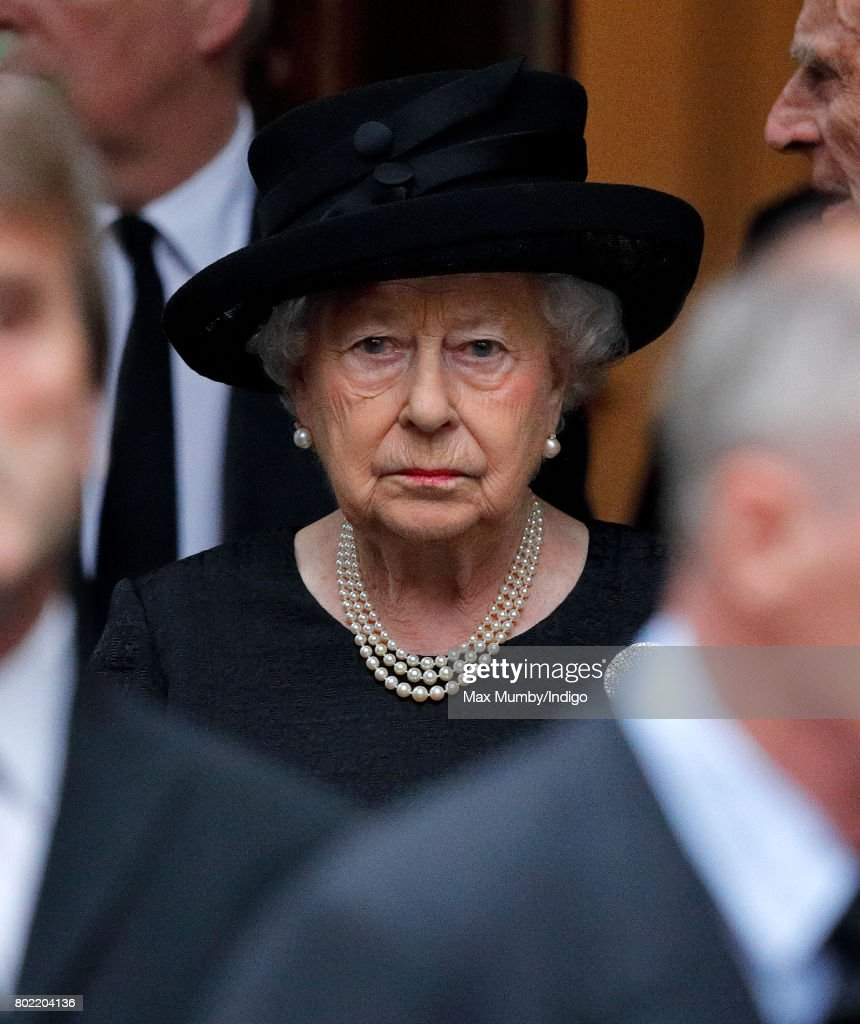 Queen Elizabeth II attends the funeral of Patricia Knatchbull, Countess Mountbatten of Burma at St Paul's Church, Knightsbridge on June 27, 2017 in London, England. Patricia, Countess Mountbatten of Burma daughter of Louis Mountbatten, 1st Earl Mountbatten of Burma and third cousin of Queen Elizabeth II died aged 93 on June 13 2017.