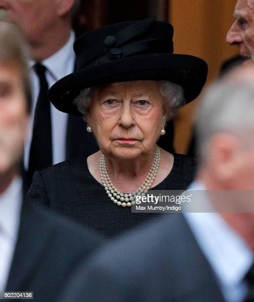 Queen Elizabeth II attends the funeral of Patricia Knatchbull Countess Mountbatten of Burma at St Paul's Church Knightsbridge on June 27 2017 in...
