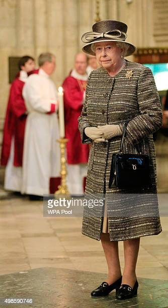 Queen Elizabeth II attends the Inauguration Of The Tenth General Synod at Westminster Abbey on November 24 2015 in London England