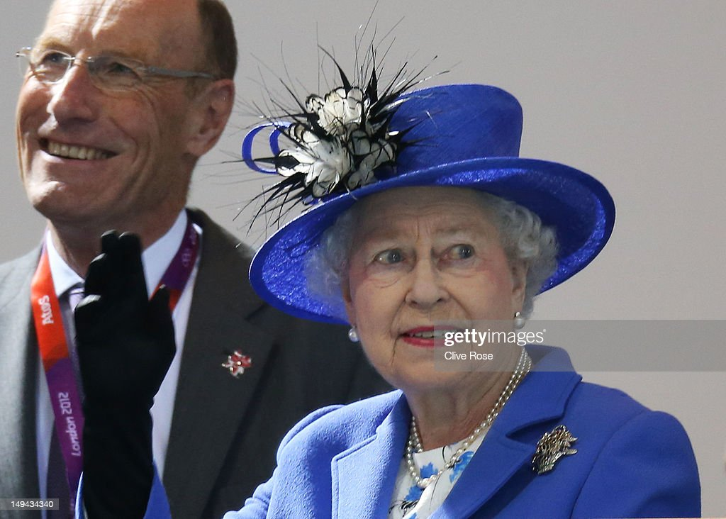 Queen <a gi-track='captionPersonalityLinkClicked' href=/galleries/search?phrase=Elizabeth+II&family=editorial&specificpeople=67226 ng-click='$event.stopPropagation()'>Elizabeth II</a> attends the morning competition of the swimming on Day One of the London 2012 Olympic Games at the Aquatics Centre on July 28, 2012 in London, England.