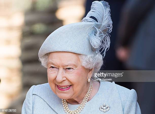 Queen Elizabeth II attends the offical opening of 'The Land Of The Lions' exhibit at London Zoo on March 17 2016 in London England