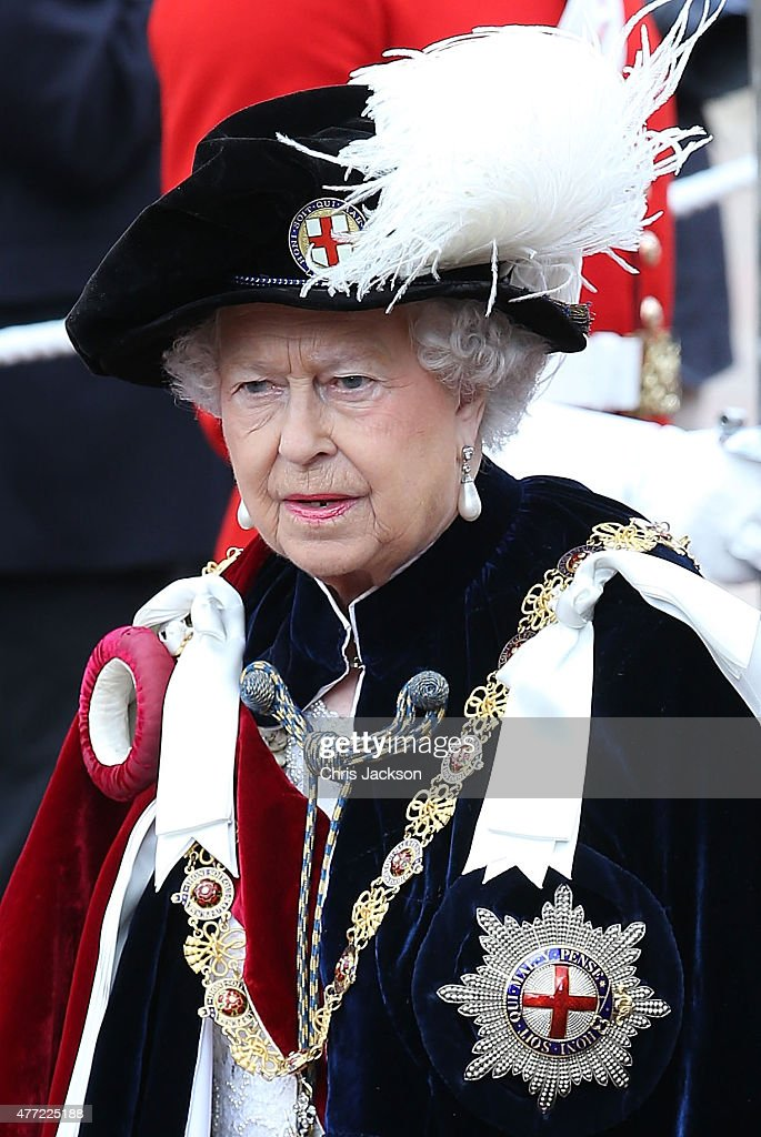Queen Elizabeth II attends the Order of the Garter Service at St George's Chapel at Windsor Castle on June 15, 2015 in Windsor, England. The Order of the Garter is the most senior and the oldest British Order of Chivalry and was founded by Edward III in 1348.