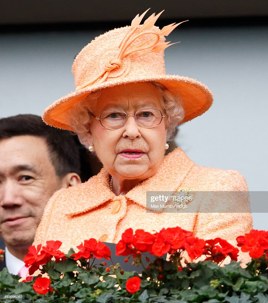 Queen Elizabeth II attends the QIPCO British Champions Day racing meet at Ascot Racecourse on October 17, 2015 in Ascot, England.