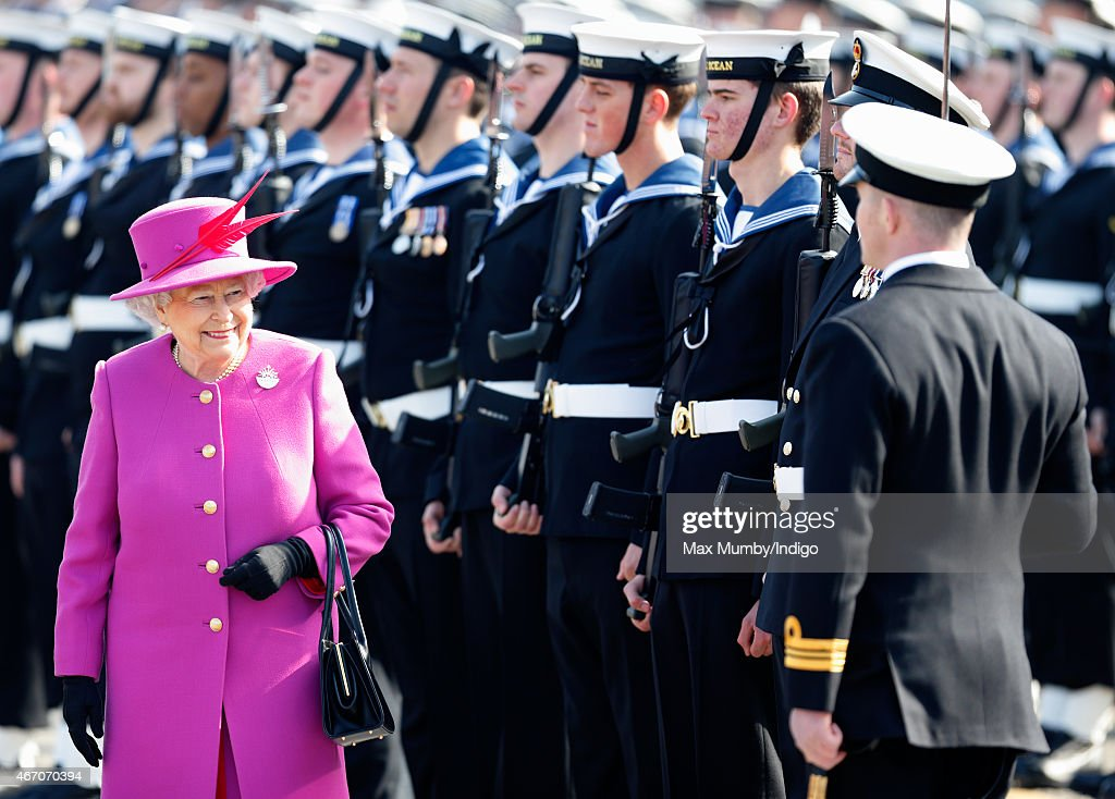 Queen Elizabeth II attends the rededication ceremony for HMS Ocean at HM Naval Base Devonport on March 20, 2015 in Plymouth, England.