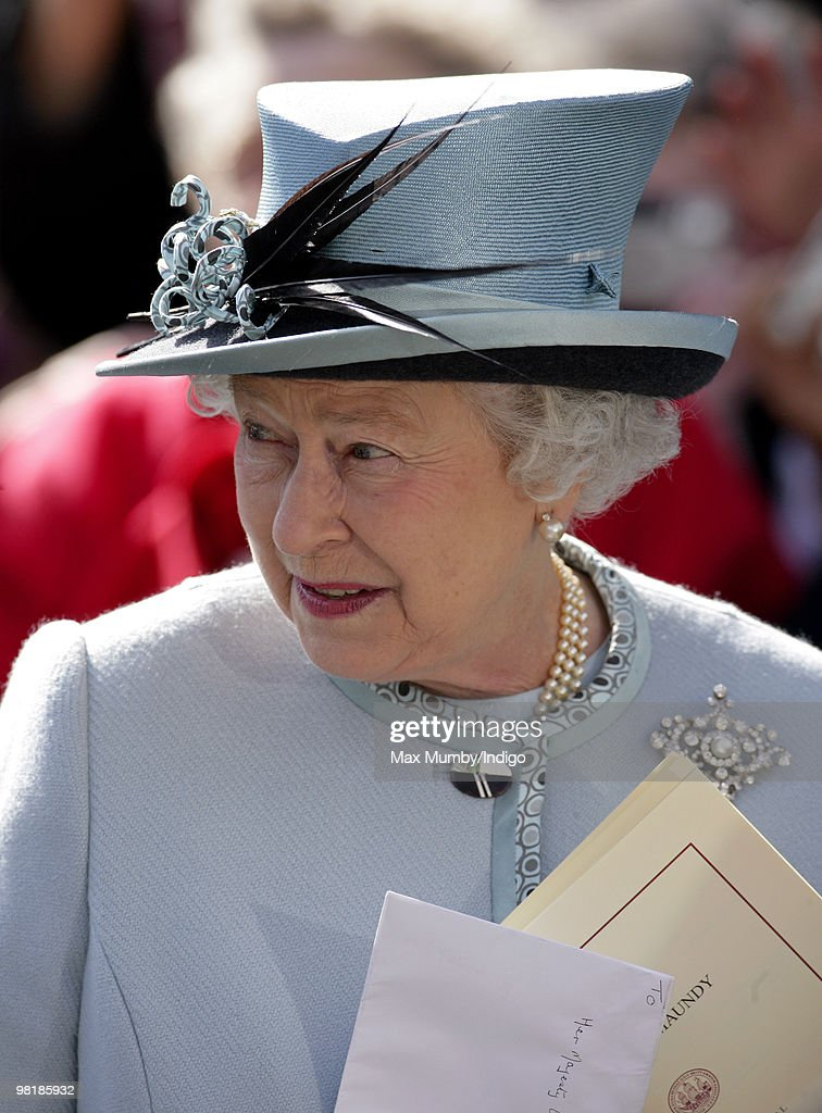 HM Queen <a gi-track='captionPersonalityLinkClicked' href=/galleries/search?phrase=Elizabeth+II&family=editorial&specificpeople=67226 ng-click='$event.stopPropagation()'>Elizabeth II</a> attends the Royal Maundy Serice at Derby Cathedral on April 1, 2010 in Derby, England.