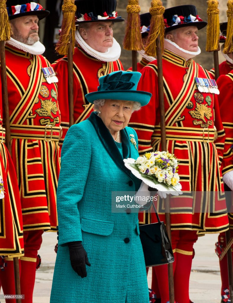 Queen Elizabeth II attends the Royal Maundy service at Leicester Cathedral on April 13, 2017 in Leicester, England. The Queen & Duke of Edinburgh travelled by car from Leicester station along Humberstone Gate, High Street and Jubilee Square.