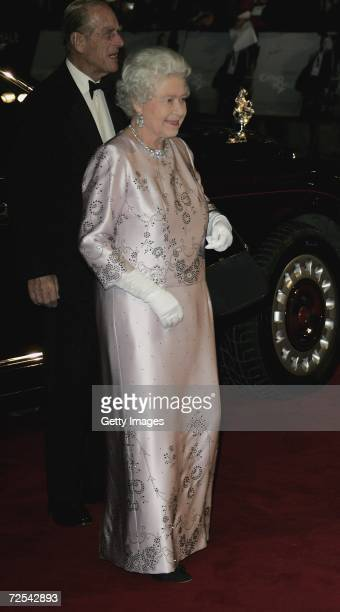 Queen Elizabeth II attends the Royal Premiere for the 21st James Bond film 'Casino Royale' at the Odeon Leicester Square on November 14 2006 in London