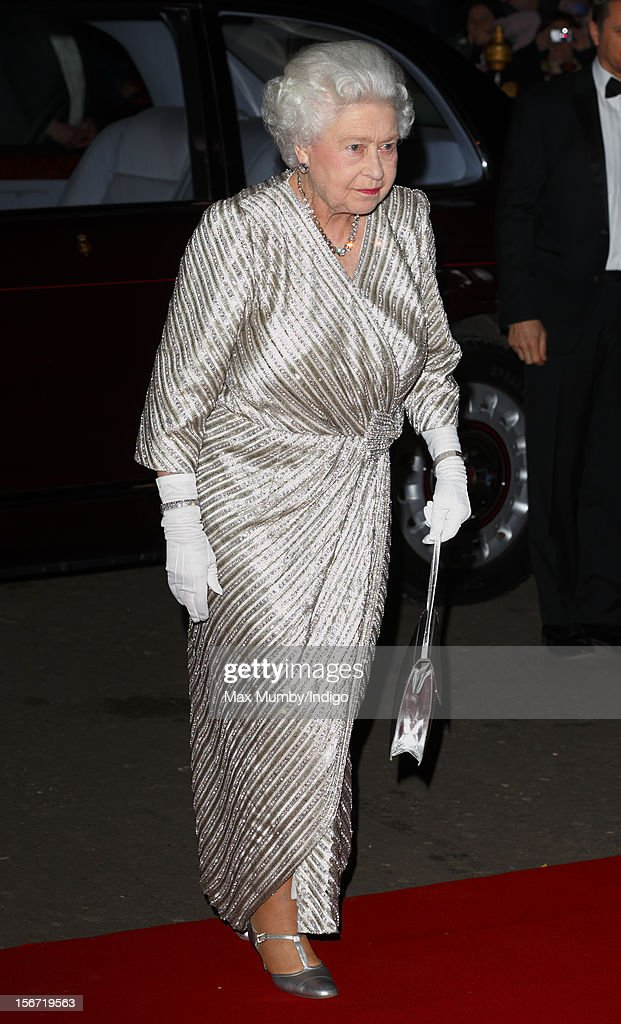 Queen Elizabeth II attends the Royal Variety Performance, in the 100th anniversary year, at the Royal Albert Hall on November 19, 2012 in London, England.
