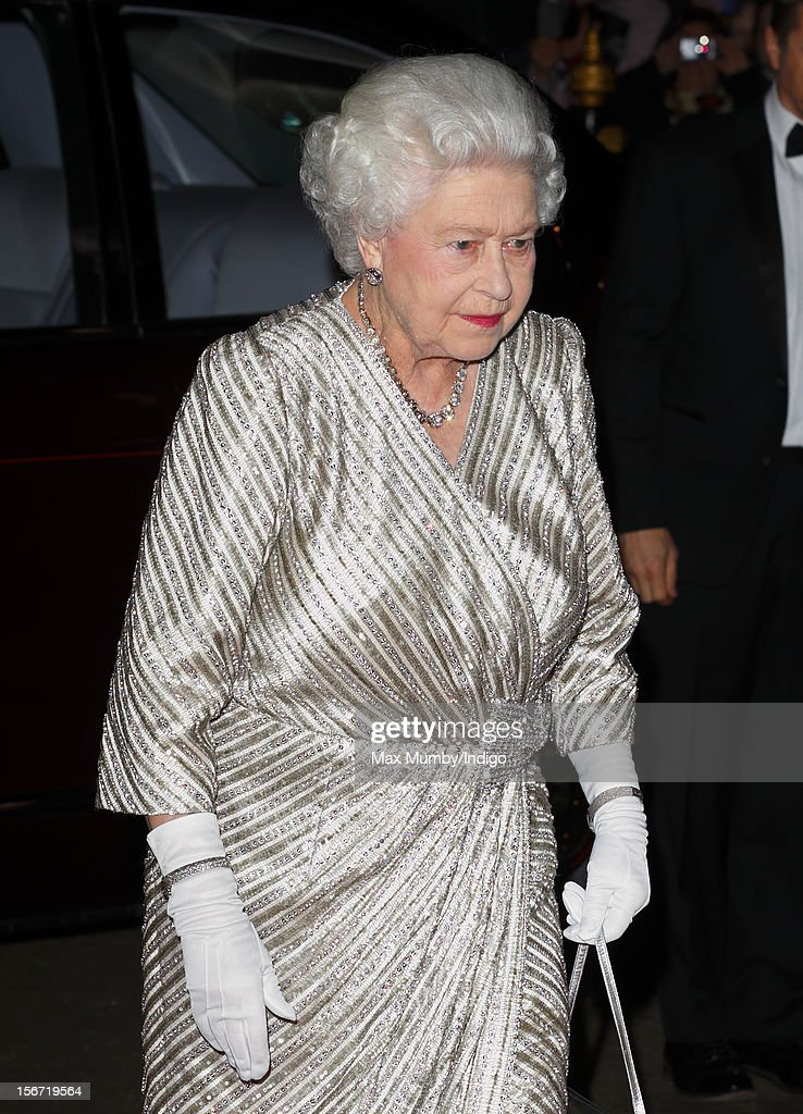 Queen <a gi-track='captionPersonalityLinkClicked' href=/galleries/search?phrase=Elizabeth+II&family=editorial&specificpeople=67226 ng-click='$event.stopPropagation()'>Elizabeth II</a> attends the Royal Variety Performance, in the 100th anniversary year, at the Royal Albert Hall on November 19, 2012 in London, England.