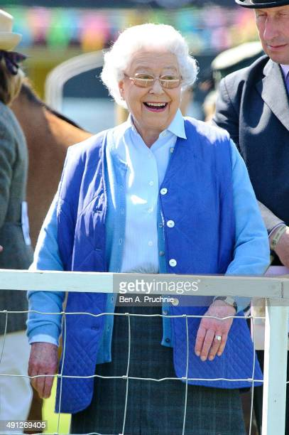 Queen Elizabeth II attends the Royal Windsor Horse Show at Home Park on May 16 2014 in Windsor England
