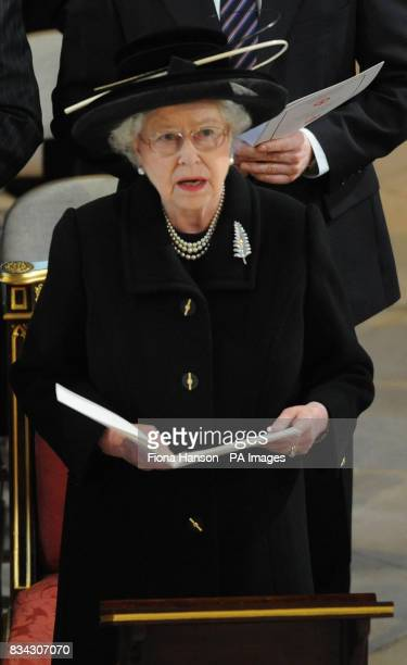 Queen Elizabeth II attends the service of Thanksgiving for the life of Sir Edmund Hillary at St George's Chapel Windsor