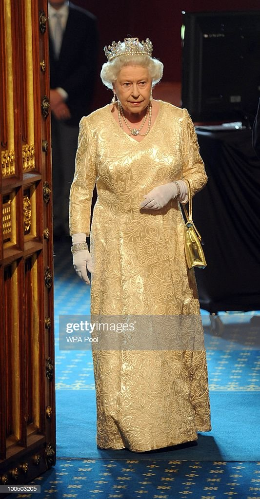 Queen Elizabeth II attends the State Opening of Parliament in the Palace of Westminster before the State Opening of Parliament on May 25, 2010 in London, England. Queen Elizabeth II unveiled the new coalition government's legislative programme in a speech delivered to Members of Parliament and Peers in The House of Lords. Laws expected to be introduced in the coming Parliamentary year are thought to include new voting reforms, repeal of identity card legislation and new powers for parents to start their own schools.