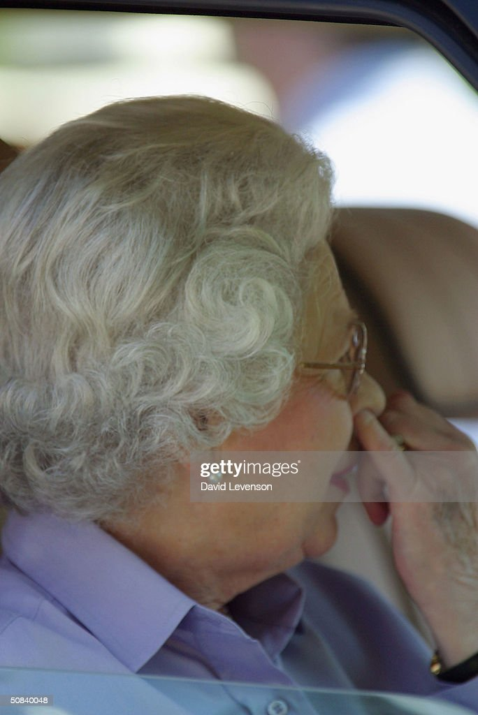 HM Queen Elizabeth II attends the third day of the Royal Windsor Horse Show at Home Park on May 15, 2004 in Windsor, England.