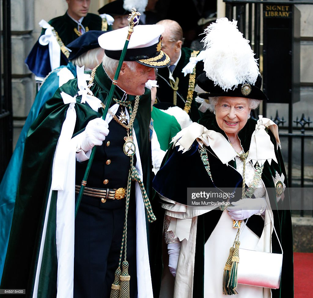 Queen Elizabeth II attends the Thistle Service at St Giles' Cathedral on July 7, 2016 in Edinburgh, Scotland. The Most Ancient and Most Noble Order of the Thistle is an order of chivalry associated with Scotland.