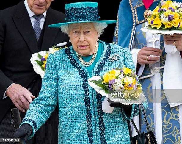 Queen Elizabeth II attends the traditional Royal Maundy Service at Windsor Castle on March 24 2016 in Windsor England