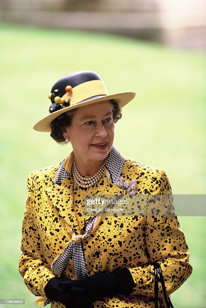 Queen Elizabeth II attends the wedding of James Ogilvy and Julia Rawlinson at St. Mary The Virgin Church on July 30, 1988 in Saffron Walden, England.