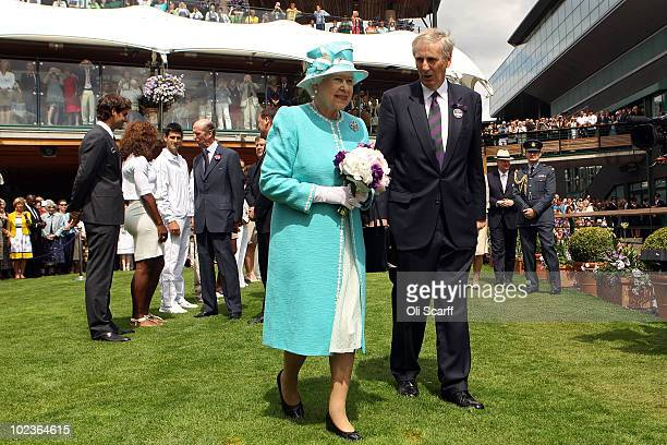 Queen Elizabeth II attends the Wimbledon Lawn Tennis Championships on Day 4 at the All England Lawn Tennis and Croquet Club on June 24 2010 in London...
