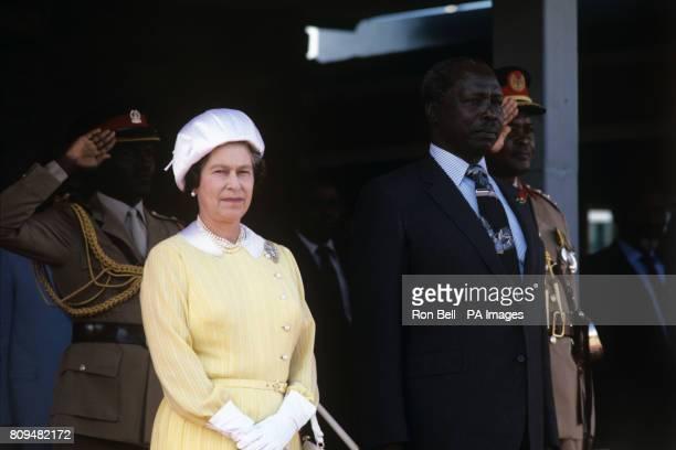 Queen Elizabeth II beside the Kenyan President Daniel Arap Moi at Jomo Kenyatta International Airport