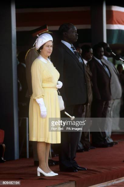Queen Elizabeth II beside the Kenyan President Daniel Arap Moi at Jomo Kenyatta International Airport