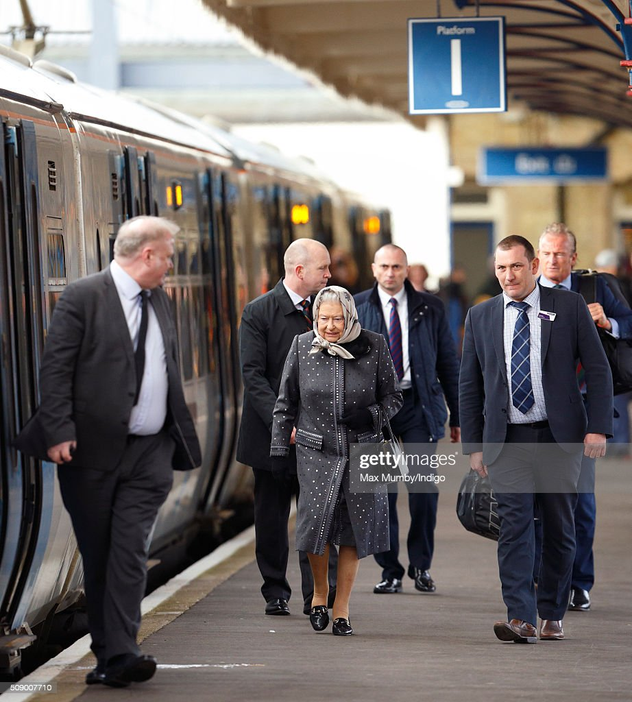 Queen <a gi-track='captionPersonalityLinkClicked' href=/galleries/search?phrase=Elizabeth+II&family=editorial&specificpeople=67226 ng-click='$event.stopPropagation()'>Elizabeth II</a> boards a train at King's Lynn Station to return to London after her Christmas break at Sandringham House on February 8, 2016 in King's Lynn, England.