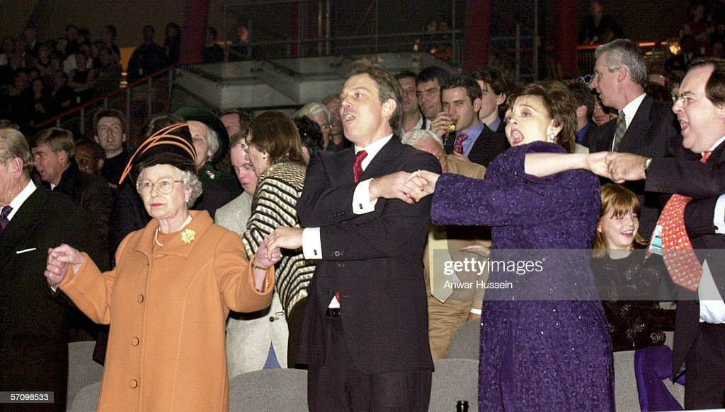 Queen <a gi-track='captionPersonalityLinkClicked' href=/galleries/search?phrase=Elizabeth+II&family=editorial&specificpeople=67226 ng-click='$event.stopPropagation()'>Elizabeth II</a>, British Prime Minister Tony Blair, and his wife Cherie Blair during the Millenium New Year celebrations on December 31, 1999 at the Millennium Dome in Greenwich in London.