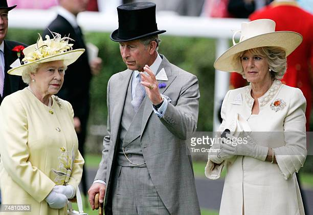 Queen Elizabeth II Camilla Duchess of Cornwall and Prince Charles Prince of Wales chat together on the second day of Royal Ascot Races on June 20...