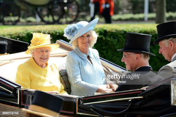 Queen Elizabeth II Camilla Duchess of Cornwall Lord Fellowes and Prince Charles Prince of Wales arrive with the Royal Procession on day 2 of Royal...