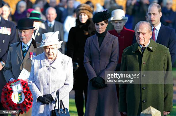 Queen Elizabeth II Catherine Duchess of Cambridge Prince Philip Duke of Edinburgh and Prince William Duke of Cambridge attend a wreath laying...