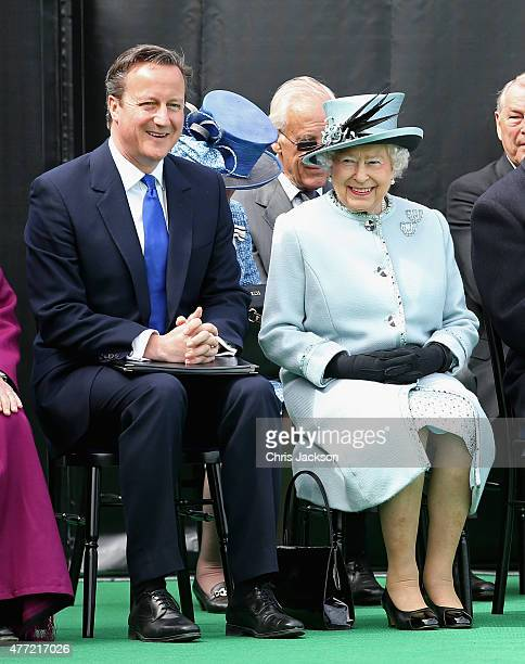 Queen Elizabeth II chats to British Prime Minister David Cameron at a Magna Carta 800th Anniversary Commemoration Event on June 15 2015 in Runnymede...