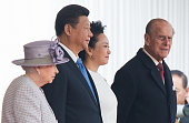 Queen Elizabeth II Chinese President Xi Jinping Peng Liyuan and Prince Philip Duke of Edinburgh attend the Official Ceremonial Welcome for the...