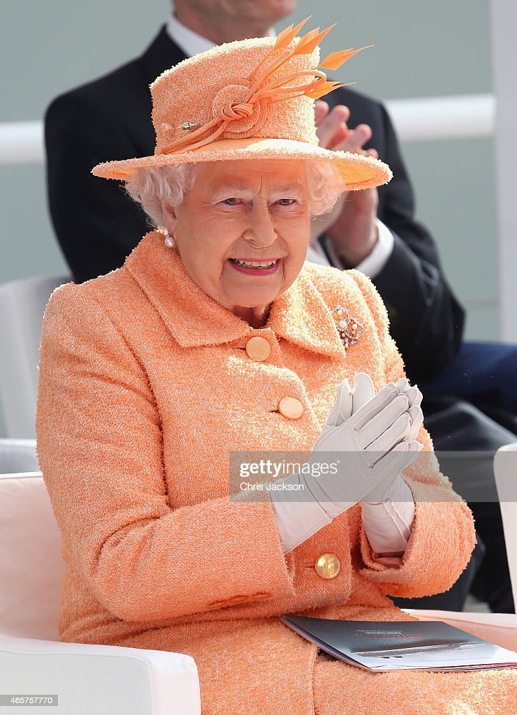 Queen Elizabeth II claps as she takes part in the naming ceremony for the P&O Cruises vessel at Ocean Cruise Terminal on March 10, 2015 in Southampton, England. Britannia will carry over 3647 passengers and at 141,000 tons she will boost P&O's cruise ship capacity by 24%.