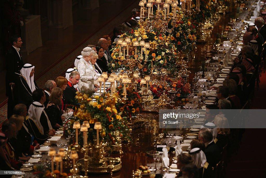 Queen Elizabeth II delivers a speech during a State Banquet for His Highness the Amir Sheikh Sabah AlAhmad AlJaber AlSabah of Kuwait in Windsor...