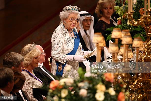 Queen Elizabeth II delivers a speech during a State Banquet in honour of the President of Ireland Michael D Higgins on April 8 2014 in Windsor...