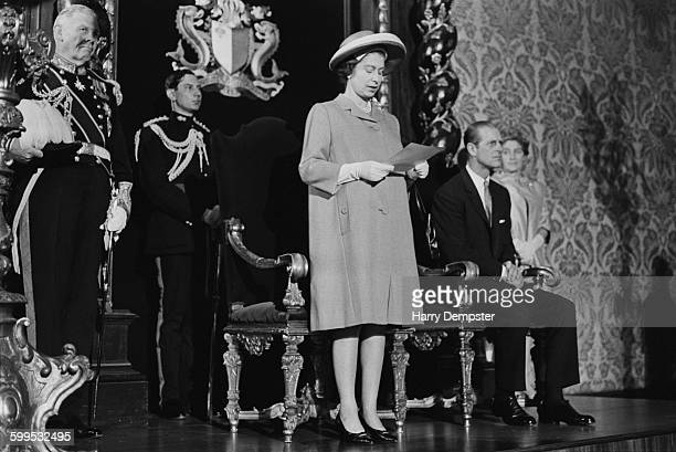 Queen Elizabeth II delivers an arrival speech during a Commonwealth visit to Malta 14th November 1967 On the left is Maurice Henry Dorman the...