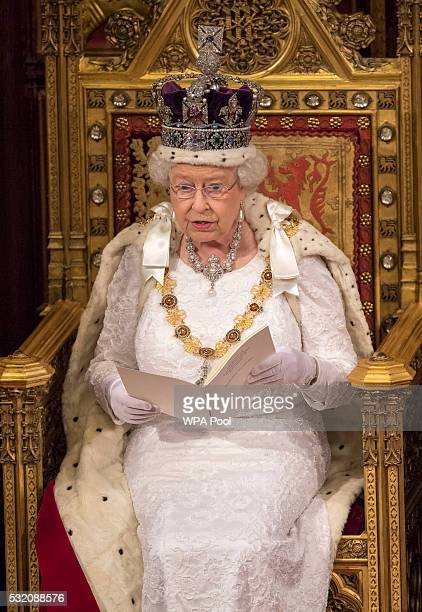 Queen Elizabeth II delivers the Queen's Speech from the throne during State Opening of Parliament in the House of Lords at the Palace of Westminster...