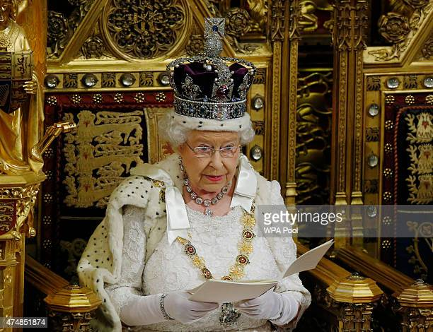 Queen Elizabeth II delivers the Queen's Speech to the House of Lords in the Palace of Westminster during the State Opening of Parliament on May 27...