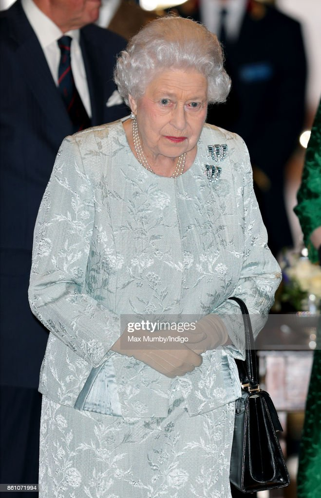 Queen Elizabeth II departs after attending a reception to mark the Centenary of the Women's Royal Navy Service and the Women's Auxiliary Army Corp at The Army & Navy Club on October 12, 2017 in London, England.