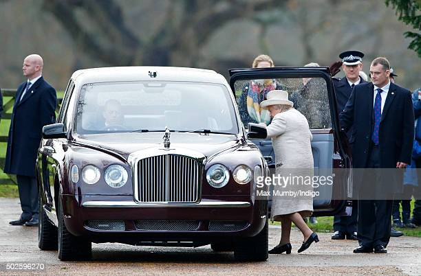 Queen Elizabeth II departs after attending the Sunday service at St Mary Magdalene Church Sandringham on December 27 2015 in King's Lynn England
