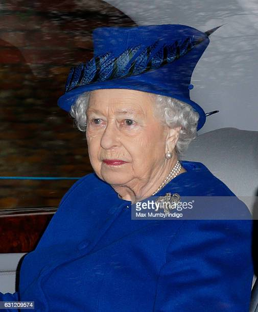 Queen Elizabeth II departs after attending the Sunday service at St Mary Magdalene Church Sandringham on January 8 2017 in King's Lynn England The...