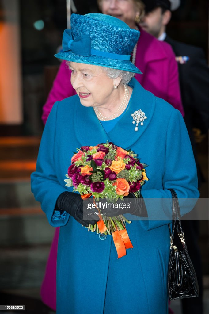 Queen Elizabeth II departs after her visit to the Royal Commonwealth Society on November 14, 2012 in London, England.