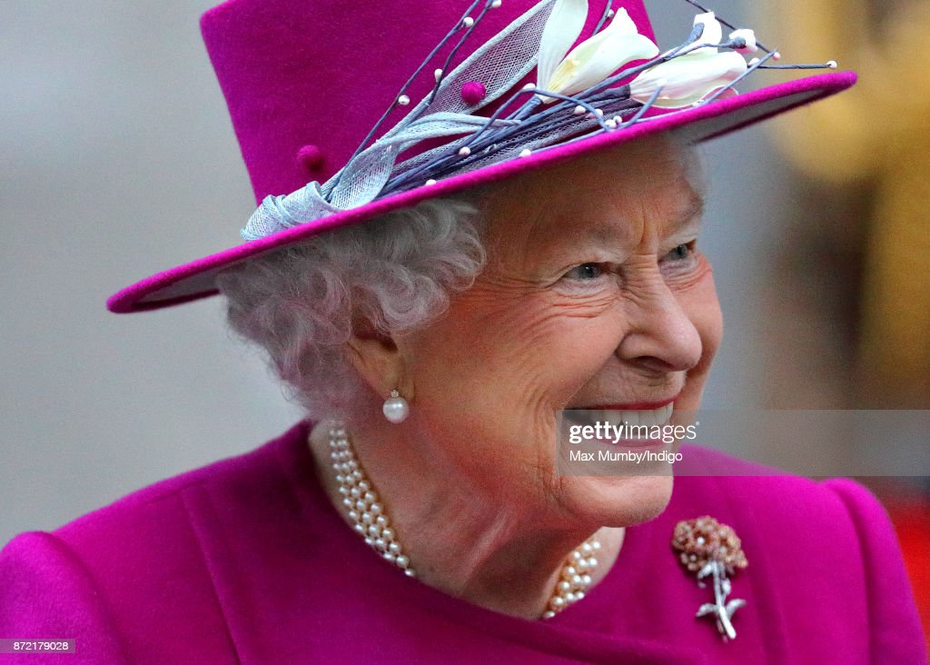 Queen Elizabeth II departs after reopening the Sir Joseph Hotung Gallery at the British Museum on November 8, 2017 in London, England.