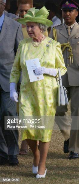 Queen Elizabeth II departs from the Kings House Kingston Jamaica after watching a cultural display during her Jubilee overseas tour
