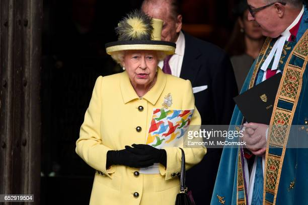Queen Elizabeth II departs the annual Commonwealth Day service and reception during Commonwealth Day celebrations on March 13 2017 in London England